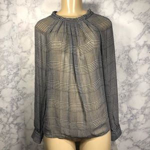 The Limited XS sheer black & white blouse